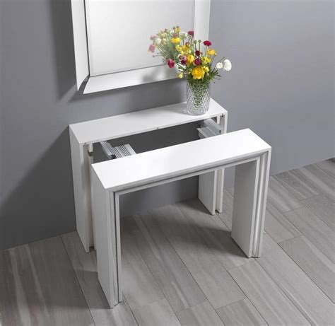 Leonardo 0 400 elegant space saving console transformable in a dining table idfdesign