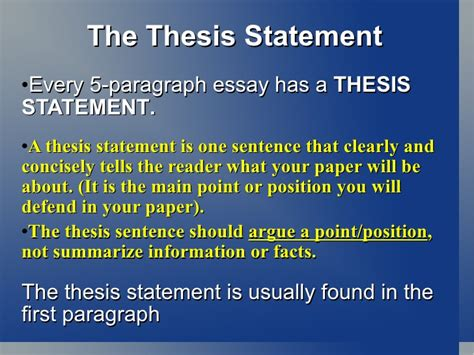 where is the thesis statement typically found in an essay intro 5 paragraph essay thesis