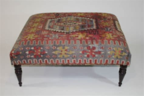 Chic Antique 19th Century Kilim Covered Ottoman Bench At