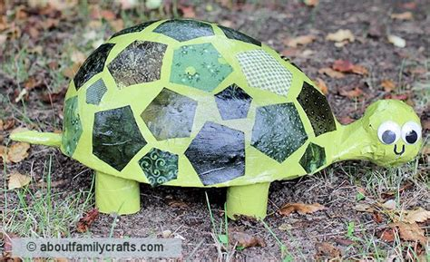 How To Make Things Out Of Paper Mache - paper mache patchwork turtle about family crafts