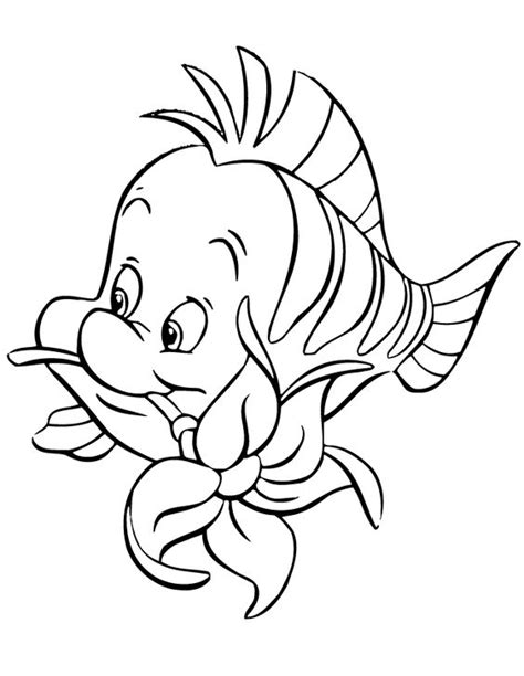 little mermaid and flounder coloring pages flounder biting flower cartoon coloring page free