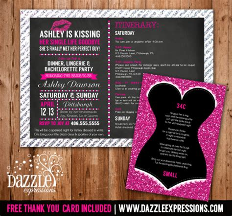 printable glitter lingerie bachelorette party invitation