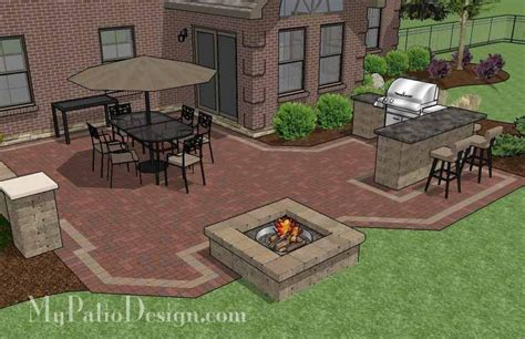Large Patio Designs Large Brick Patio Design With Grill Station Bar