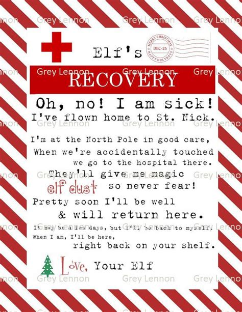 printable elf sick note elf on the shelf recovery letter if touched and by