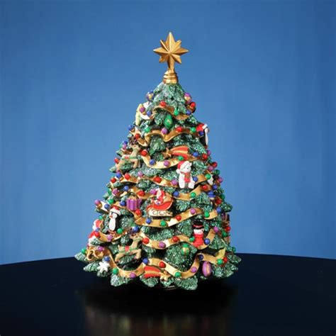 jingle bell rotating christmas tree figurine jingle bell