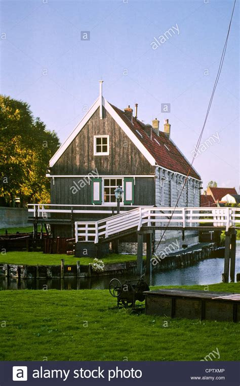 buy a house in holland a house is surrounded by canals in the zuiderzeemuseum in enkuizen stock photo