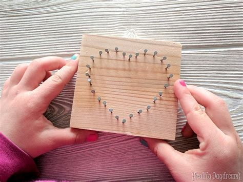 tutorial nail art sting heart shaped beginner string art kids craft reality daydream