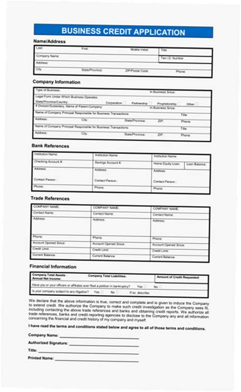 Credit Application Forms Pdf business credit application form pdf