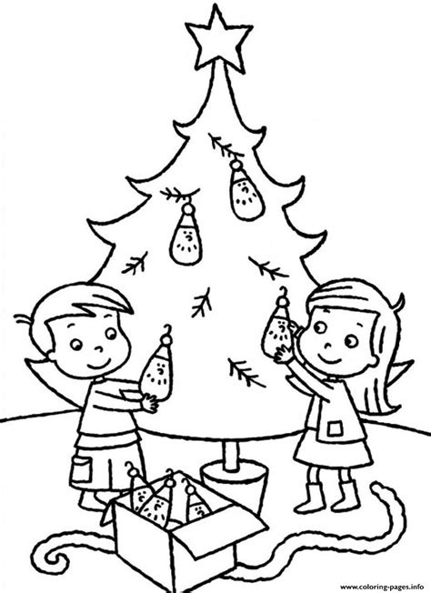 Coloring Page Of A Christmas Tree With Decorations | sibling decorating christmas tree b198 coloring pages