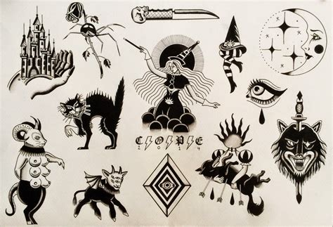 halloween tattoo flash themed flash www imgkid the image