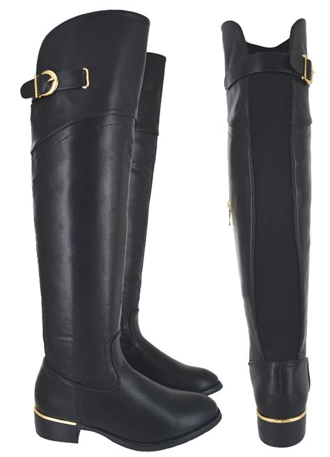 wide calf the knee flat boots womens wide calf fit the knee elasticated flat