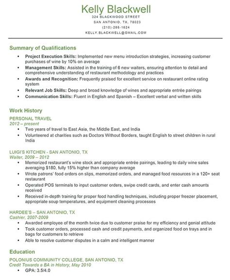 Qualifications Exles For Resume by Resume Format Qualifications For Resume Exle