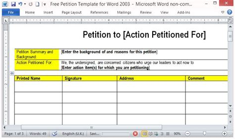 Free Petition Template For Word Free Template For Petition Signatures