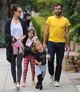 alessandra ambrosio flashes a hint of torso while out with fianc 233 jamie mazur and kids daily