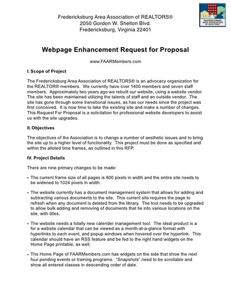 website design proposal request faar website rfp