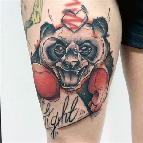 panda tattoo on thigh 100 panda bear tattoo designs for men manly ink ideas