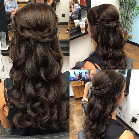 half up half down curly hairstyles with braids half up half down braid with waves perfect for wedding