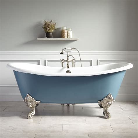 blue bathtub 72 quot lena cast iron clawfoot tub monarch imperial feet