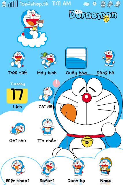 themes doremon cho android theme doraemon kute cho iphone 4 4s 5