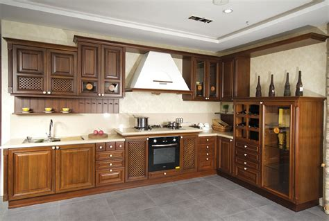Brown Wood Kitchen Cabinets Fabulous Brown Solid Wood Kitchen Cabinets Also Beige Granite Kitchen Table Countertop Also Gray