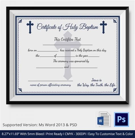 templates for baptism certificates 20 sle baptism certificate templates free sle
