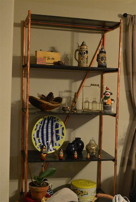 copper pipe shelves made by in with stained