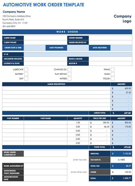 40 Work Order Template Free Download Word Excel Pdf Auto Repair Shop Work Order Template