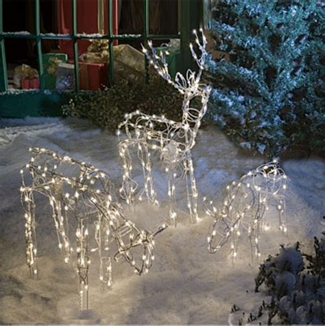 Outdoor Lighted Reindeer Decoration by Animated Lighted Reindeer Family Set 3 Yard