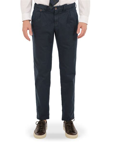 Pleated Slim Fit incotex slim fit single pleated trousers navy hos