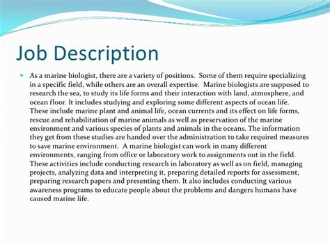 Description For A Marine Biologist marine biologist description marine world