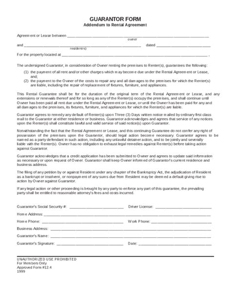 guarantor agreement template 20 luxury rental agreement guarantor letter pics