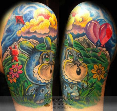 new school tattoo vegas joshstono balloons new school cartoon clouds kite bunny