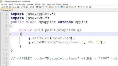 colors in java font color setcolor in java applet
