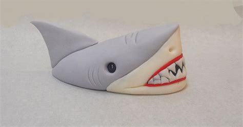 baby shark fondant shark head out of water fondant cake topper 1st by