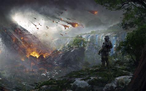 wallpaper titanfall  soldier destruction concept art