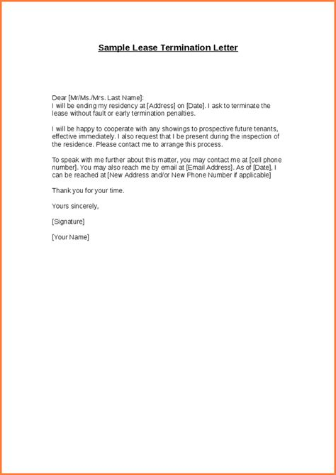 Sle Letter End Lease Early 10 Early Termination Of Lease Letter Adjustment Letter