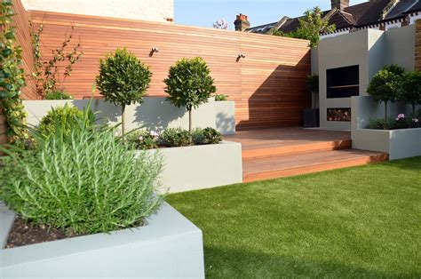 modern patio design fireplace garden