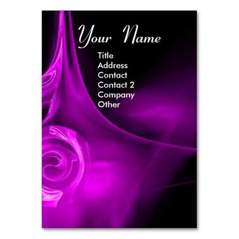 Fractal Card Template by Fractal 3 Bright Light Purple Black Business Card
