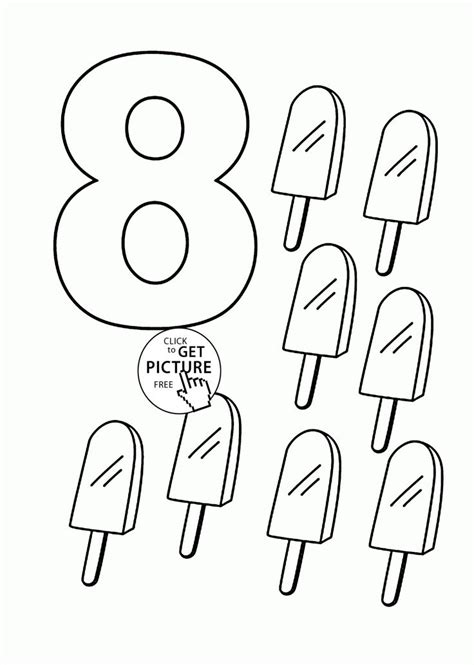 coloring pages with numbers number 8 coloring pages for counting sheets