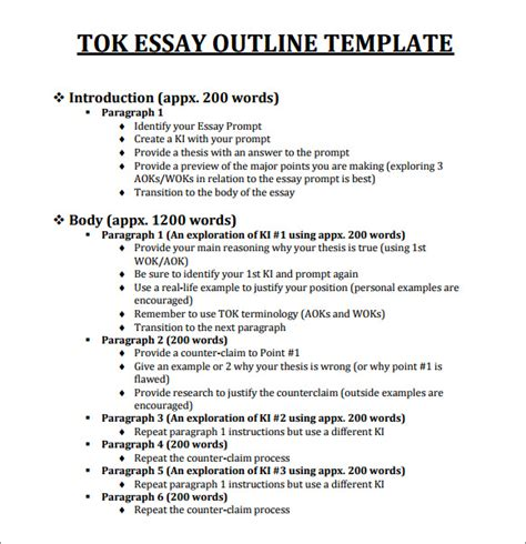 Tok Essays Exles by Outline Template 11 Free Documents In Pdf Excel Word