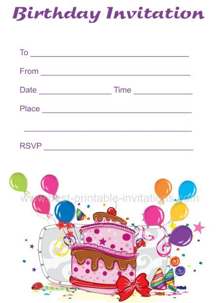 printable birthday cards no sign up free birthday invitations