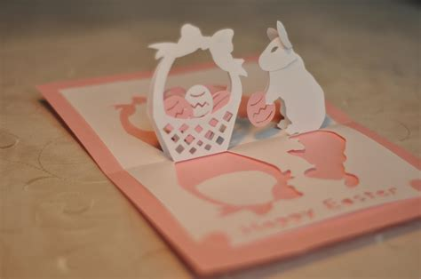 easter bunny and basket pop up card template creative