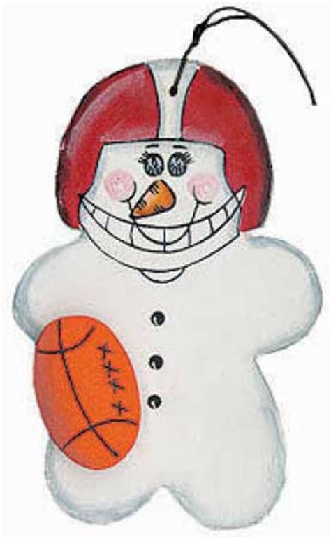 football snowman wood ornament christmas ornaments