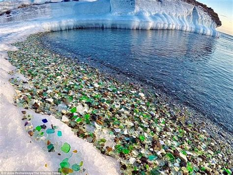 russian beach russia s amazing kaleidoscope glass beach might vanish daily mail online