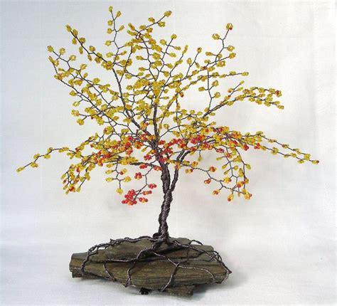 how to make a beaded wire tree fall colors beaded bonsai wire tree sculpture with sead