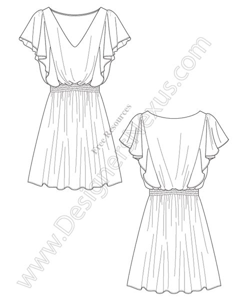 v67 draped dress illustrator flat drawing designers nexus