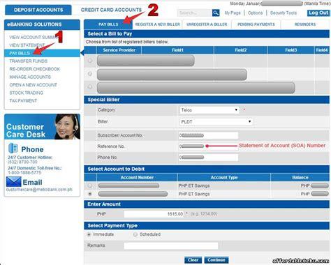 Credit Card Application Form Metrobank How To Pay Pldt Bill Or Landline Thru Metrobank Banking Banking 29511