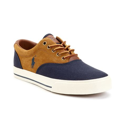 polo ralph vaughn sneakers polo ralph vaughn saddle sneakers in brown for