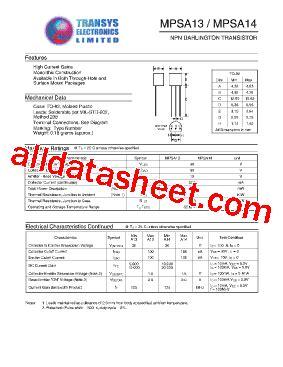 transistor mpsa13 datasheet mpsa13 datasheet pdf transys electronics