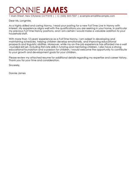 cover letter for a nanny position military bralicious co